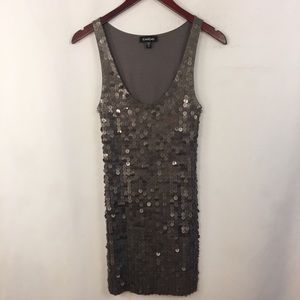 BEBE Sequins Mini Dress XS Gray Sleeveless Tank
